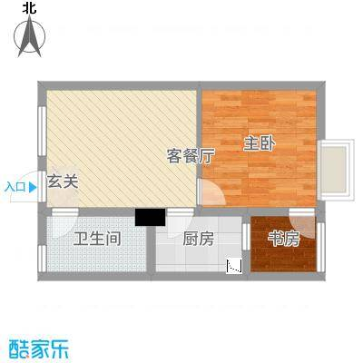 华松・蚂蚁公寓户型1室2厅1卫1厨