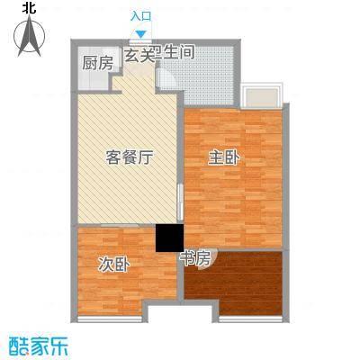 华夏世贸广场F平面户型3室1厅1卫1厨