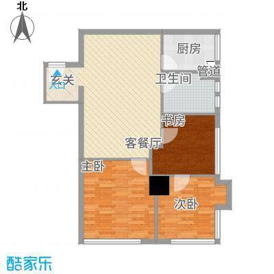 华夏世贸广场E户型3室2厅1卫1厨