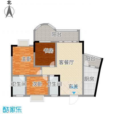 邦兴佳苑116.00㎡户型3室-副本