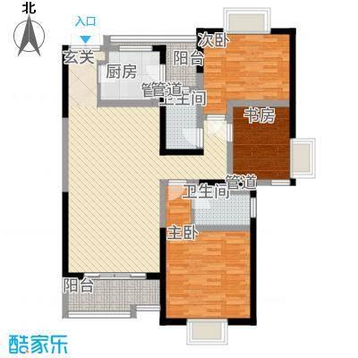 教授花园IV期碧山临海7#楼01户型3室2厅2卫约122.54M²