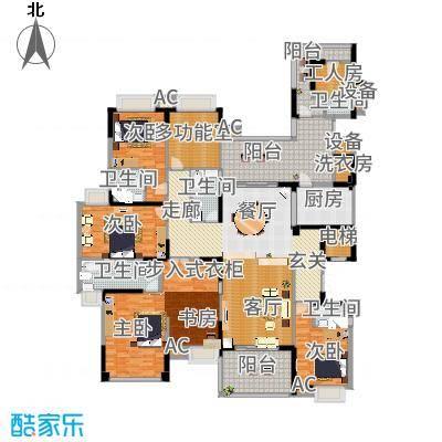 龙泉豪苑一期B10#-12#标准层户型4室1厅5卫1厨-副本