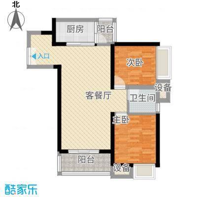 东莞长安万达广场90.00㎡东莞长安万达广场户型图2、4栋标准层B2户型2室2厅1卫1厨户型2室2厅