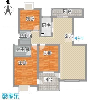 高尔夫花园126.41㎡E1型户型3室2厅2卫1厨-副本