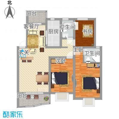 瑞景苑113.48㎡A户型3室2厅2卫1厨-副本