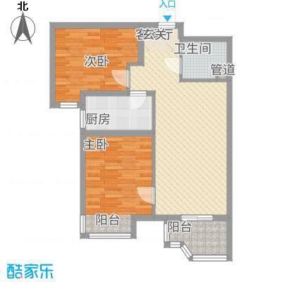 天玺国际84.50㎡A-2户型2室2厅1卫1厨-副本