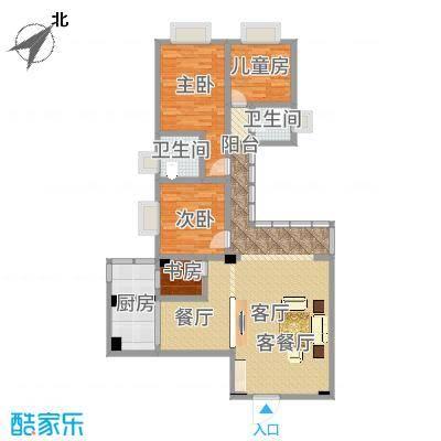 方案3:保留原有户型-中间改书房