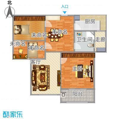 金域华府94方B3户型两室两厅-副本