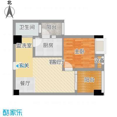 中航国际交流中心57.54㎡4号楼B4户型一室一厅一卫一厨户型1室1厅1卫1厨-副本