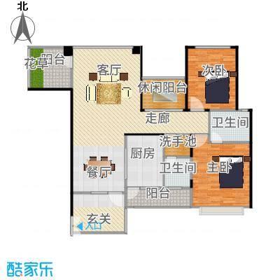 奥克斯广场127.00㎡一期标准层D2户型2室1厅2卫1厨-副本