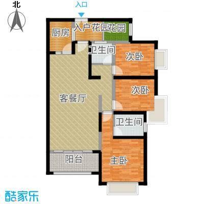 奥克斯广场126.00㎡一期标准层A2户型3室1厅2卫1厨-副本