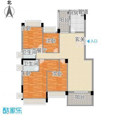 锦绣山河三期159.00㎡锦绣山河三期户型图4栋标准层L1户型4室2厅2卫1厨户型4室2厅2卫1厨-
