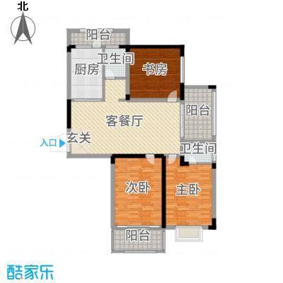 格林春天・野花园二期128.00㎡E户型3室3厅2卫
