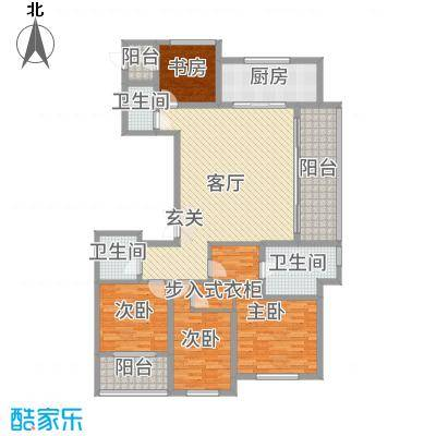 新城帝景160.00㎡33#标准层智慧园首户型4室4厅3卫1厨