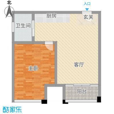 新城帝景73.00㎡38#3-27层G户型1室1厅1卫1厨
