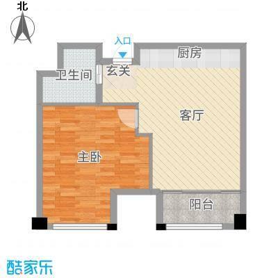 新城帝景65.00㎡38#3-27层E户型1室1厅1卫1厨