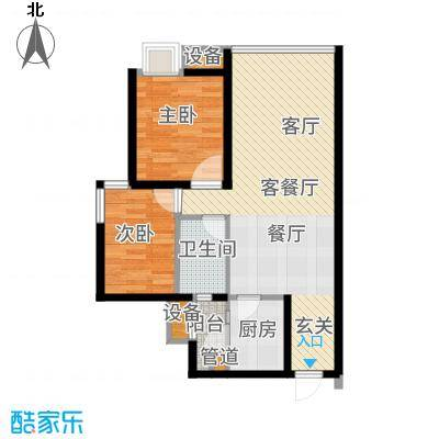 龙湖时代天街77.00㎡3期13号楼标准层A1户型
