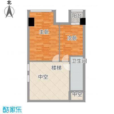 合生时代帝景75.00㎡A户型二层户型2室2厅2卫1厨