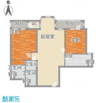 合生时代帝景129.00㎡3号楼C户型2室2厅2卫1厨