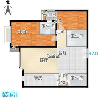 京贸国际公寓122.22㎡G座B3面积12222m户型