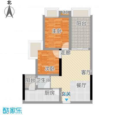 香榭国际88.56㎡2期3栋标准层B3户型