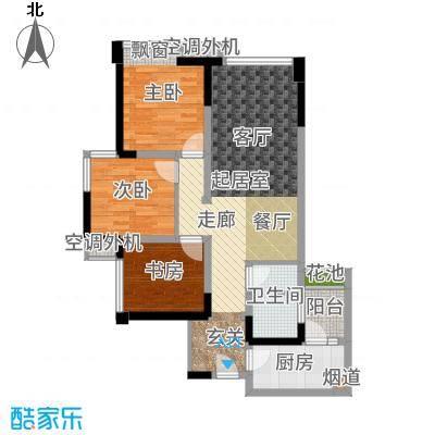 时代睿城80.00㎡一期1栋2单元标准层A33室户型