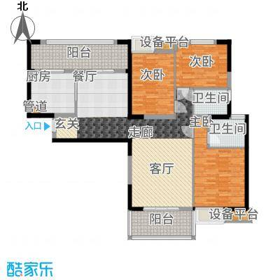 中海城南华府135.00㎡一期1、2、4、7号楼标准层B户型