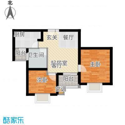 新梅淞南苑60.00㎡房型: 二房; 面积段: 60 -70 平方米;户型