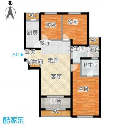 天朗蔚蓝东庭119.98㎡六号楼E'户型