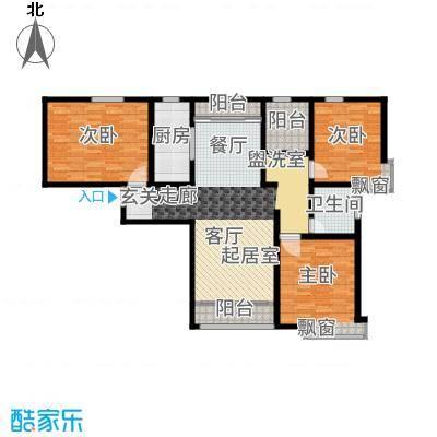 融创君澜融公馆124.00㎡高层4号楼标准层J1户型