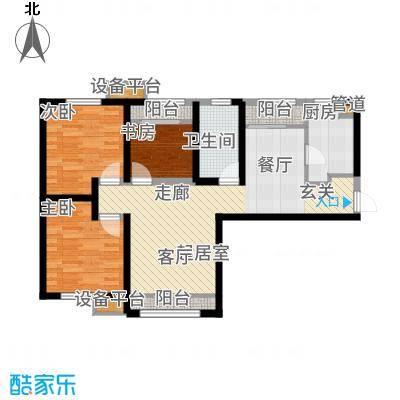 融创洞庭路壹号104.00㎡8、14、15、21号楼标准层B1户型