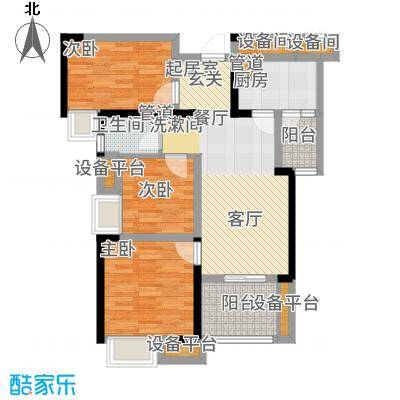 中海琴台华府89.00㎡一期1、5、6号楼B户型