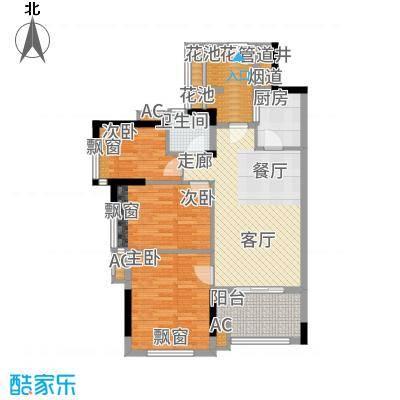 万科云山93.00㎡B1栋02单元3室面积9300m户型