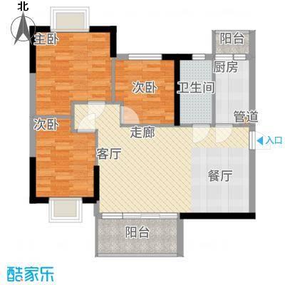 泓景花园91.36㎡B4-B7栋03单位面积9136m户型