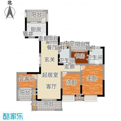世茂石湖湾140.00㎡高层266-271栋标准层B1户型