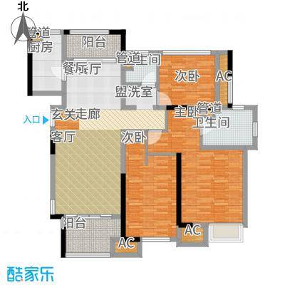 星光耀广场122.00㎡高层6#、8#等标准层A户型