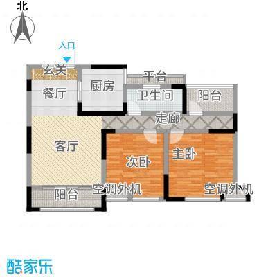 天淳江南101.48㎡二期2、4、6、9号楼标准层B3户型