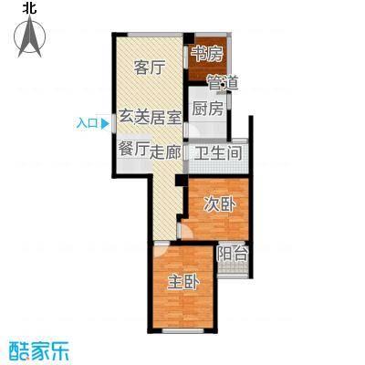 翠屏诚园83.00㎡一期12-14号楼标准层C户型