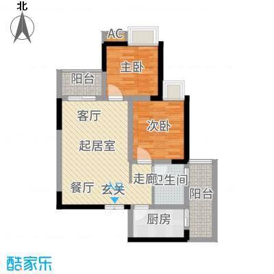 贝蒙天地锦轩58.88㎡一期3号楼标准层A1户型