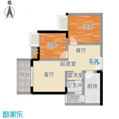 贝蒙天地锦轩58.47㎡一期3号楼标准层A2户型