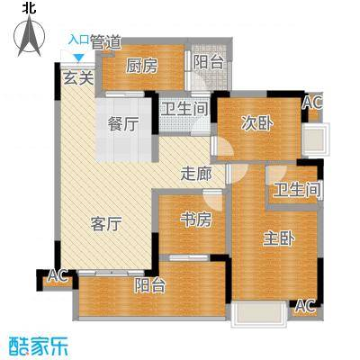 中冶黛山壹品111.60㎡一期4栋3、4号房标准层户型
