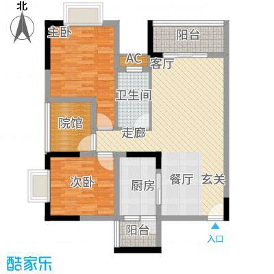 中国铁建中铁5号74.20㎡一期1号楼标准层A1户型