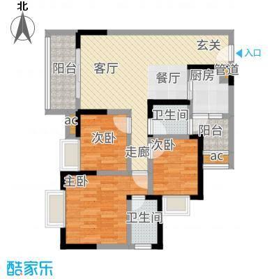 渝开发上城时代81.00㎡2期16号楼标准层2号户型