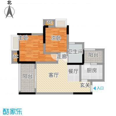 巨龙江山国际77.25㎡2期高层14、15号楼标准层H1-6户型