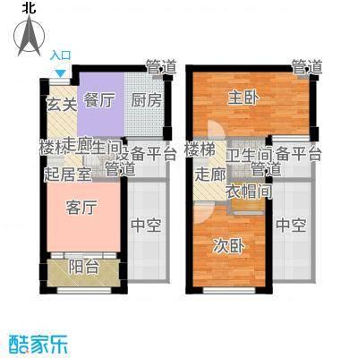 新宏香榭丽舍73.00㎡新宏・香榭丽舍D-2跃户型