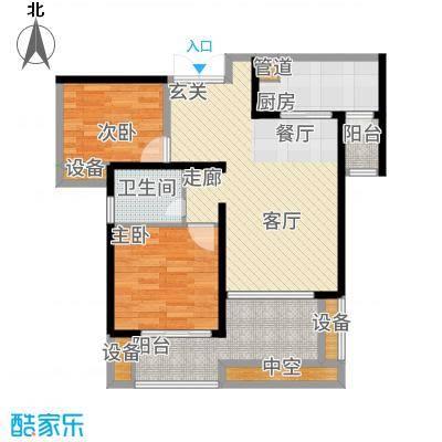 绵阳CBD万达广场79.31㎡3栋3单元4-31层2号2室户型