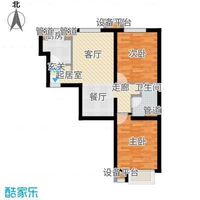 京投银泰万科西华府80.00㎡1号楼B2户型2室2厅