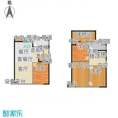 珠江四季悦城180.00㎡三居跃层户型3室2厅