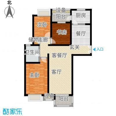 中海万锦城三期126.00㎡B1户型3室2厅