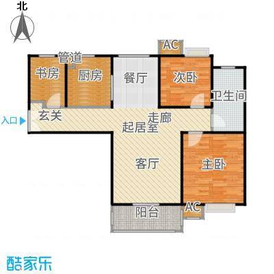 万业紫辰苑95.00㎡三居户型3室2厅